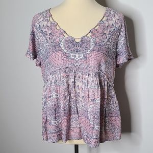 Lucky brand pink cut out blouse